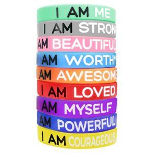 Inspirational Wristbands Bracelets 9 Silicone Motivational Wrist band Bracelets