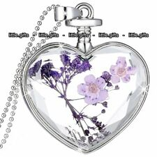 Purple Flower & Heart Pendant Necklace Love Gift For Her Mum Present Women