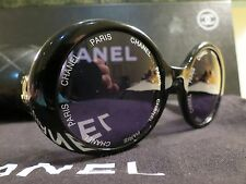"VERY RARE CHANEL BLACK ""CHANEL"" & ""PARIS"" LOGO SUNGLASSES #01949-94305 W/CASE"