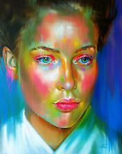 Large Original Oil painting on canvas. Colourful portrait of a woman 30x24""
