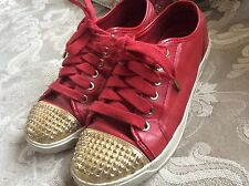MICHAEL KORS Red Studded Leather Fashion Tennis Shoes Size 7
