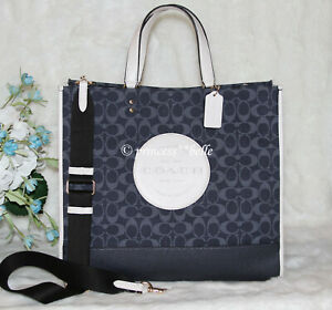 🎁 COACH Denim Dempsey Tote 40 Signature Jacquard Logo Patch XL Travel Bag $450