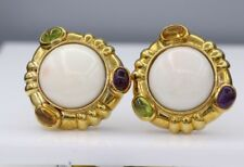 ESTATE ANTIQUE NATURAL CORAL EARRINGS 18K YELLOW GOLD PLUS GEMSTONES