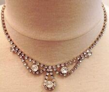 collier bijou vintage couleur or blanc ancien cristaux taillé diamant 613