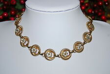 VINTAGE TARA NECKLACE OF GOLD TONED METAL HALF MOON OVALS & RHINESTONE CLUSTERS