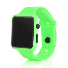 UK LED Watch Sports Silicone Rubber Digital Unisex Women Men Girls Boys Gifts Green