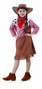 Kids Cowgirl Costume Childrens Cow Girls Cowboy Wild West Fancy Dress Jessie