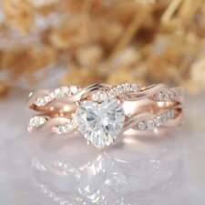 White Moissanite Diamond Wedding Set 1.50 Ct 14K Rose Gold Over Ring Heart Cut