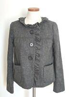 J.Crew Wool Blazer 2 Wool Jacket Herringbone Ruffle Gray