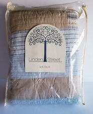 LINDEN STREET PATCHWORK QUILT BLUE AND TAN TWIN SIZE NEW