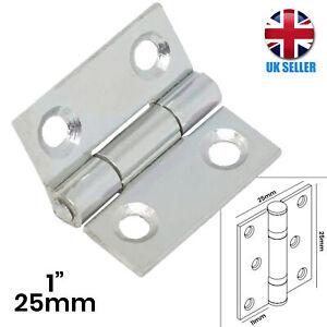 "STRONG Butt Hinge 1""/25mm SILVER Small Metal Door/Cupboard/Cabinet/Box Hang UK"