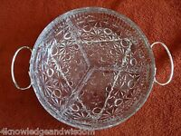 Vintage European Silver Plated 2 Pc. Queen Anne Relish Set EP STEEL French Glass