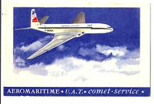 1950s UAT French Airlines Issued F-BGSA De Havilland DH-106 Comet Postcard