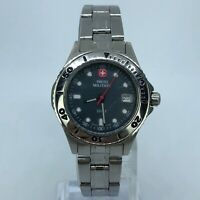 SWISS MILITARY STAINLESS STEEL WOMENS WATCH BLACK PEARL 29mm 093 0670