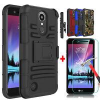 For LG K20 Plus/K20 V/Harmony Kickstand Case + Tempered Glass Screen Protector
