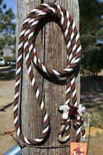 """1/2"""" Alpaca Hair Loop / Roping / Trail Reins 6 Str x 10 ft- Brown/Burgundy/White"""