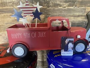 NEW Rae Dunn Farmhouse  USA Red Pickup Truck Patriotic 4th Of July America Decor