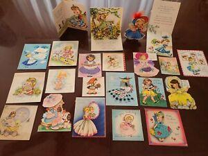 22 Vtg Birthday Greeting Card ALL Diecut ALL GIRLS Scrapbook Lot A- 1940s-50s