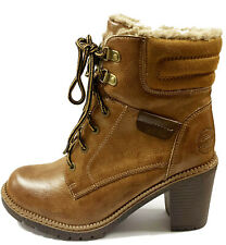 REFRESH - 72365 -Camel Brown Ankle Boots With Side Zip & Fur Lining