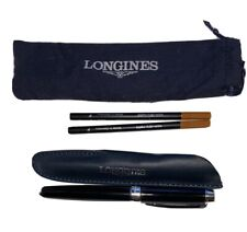 Longines Rollerball Black and Silver Pen, pouch, case + 2 refills Authentic New