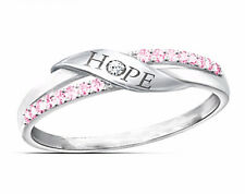 Pink Hope Breast Cancer Awareness Ring Size 8 18K White Gold Plated