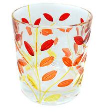 Vetro di Murano Bere Bicchiere Rosso Arancione Giallo Dipinto a Mano Fiore 327ml