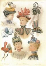 Victorian Style Print Ladies Hats Spring Millinery