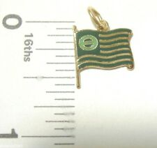 Charm Griffith ECOLOGY flag Sterling Silver gold plate green