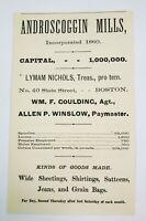 1878 Boston Massachusetts Print Advertisement Androscoggin Mills Shirts Jeans