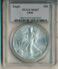 1999 AMERICAN SILVER EAGLE **PCGS CERTIFIED MS 67**