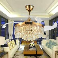 "42"" Crystal Chandelier Ceiling Fan Led Light w/Remote Fandelier 3Color change Us"
