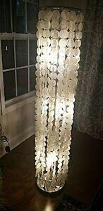 "Capiz Shell Floor Lamp, 3-Light, Cascading Discs Curtain Shade, Metal Base, 60""H"