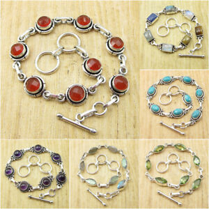 Mix Styles, Mix Shape ! 925 Silver Plated CARNELIAN & Other Stones Bracelet Gift