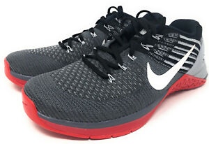 NIKE METCON DSX FLYKNIT DARK GREY/WHITE-UNIVERSITY RED SZ MEN'S 8 [852930-002]