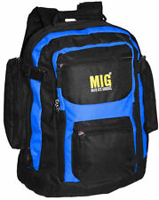 Mens Large Backpack Bag SPORTS TRAVEL HIKING CAMPING SCHOOLBlack & Royal 105R3