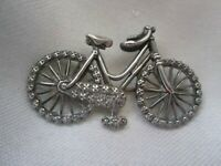 Antique Rare Sterling Silver Birmingham Punched Detailed Bicycle Brooch Pin