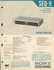 Sony SEQ-9 Original Graphic Equalizer Service Manual