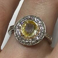 2 ctw Natural Yellow Sapphire & Diamond 14k White Gold 2 Halo Engagement Ring