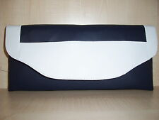 NAVY BLUE & WHITE faux leather clutch bag, fully lined BN, made in the UK
