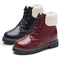 Women's Ankle Lace Up Fur Lined Snow Boots Winter Warm Flat Sole Martin Shoes