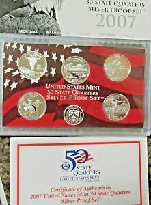2007 United States Mint 50 State Quarters Silver Proof Set w/ Box & COA
