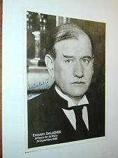 autographe Edouard DALADIER guerre et paix Munich photo photographie véritable