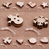 10PC Wooden Design Craft Ornament Christmas Tree Hanging Decorations Party XMAS