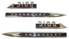 1956 CHEVROLET TRUCK 1/2 TON 3100 FRONT FENDER EMBLEM PAIR W/ BLACK DETAILS
