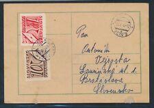 Slovakia postage due 1942, Mi. 24+38 on card, after the WW II