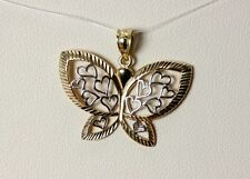 """14K White & Yellow Gold Filigree Butterfly w/Hearts Pendant 1"""" - 2579"""