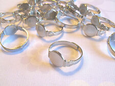 25 Adjustable Ring Blanks - 10mm pad - silver tone diy jewelry finding supplies