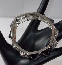 Cara NY Couture Elegant Black Enamel Rhinestone Stretch Silver Bracelet Pyramid