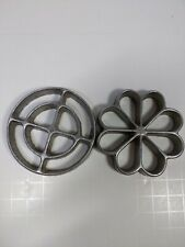 Vintage Rosette Flower Iron Cookie Molds 3""