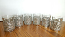 Lowball Tumbler Old Fashioned Barware Glasses With Silver Sleeve - Six - French